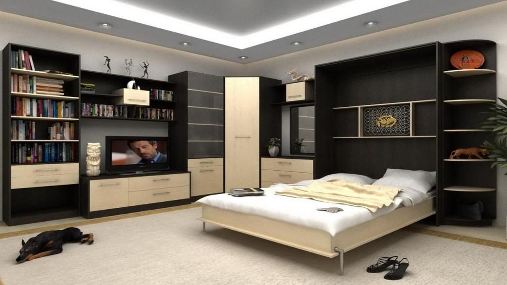 interesting-bed-invisible-design-set-on-dark-wooden-wall-cabinet-idea-including-tv-on-vanity-beside-book-shelves-as-well-beige-carpet-covering-floor-along-with-led-lighting-in-ceiling